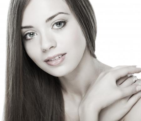 흰색 배경, 감정, 화장품에 고립 된 아름 다운 여자,
