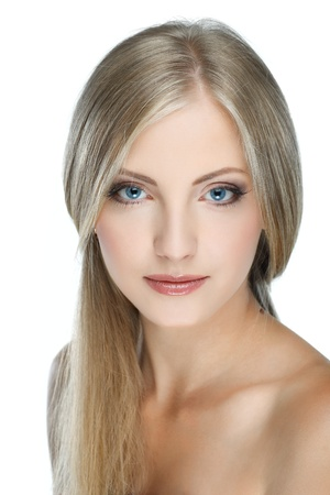 Closeup portrait of sexy whiteheaded young woman with beautiful blue eyes on white background Stock Photo