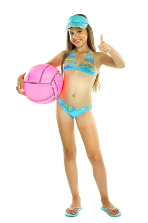 cute little girl in swimming suit with a ball, isolated on a white background Stock Photo - 15126913
