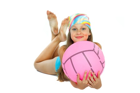 cute little girl in swimming suit with a ball, isolated on a white background Stock Photo - 15126909
