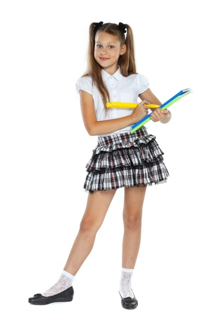 school form: a little girl is in a school form which had an idea, isolated on a white background
