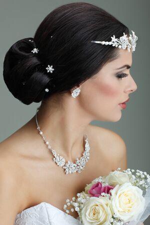 Portrait of beautiful bride. Wedding dress. Wedding decoration Stock Photo - 15309846