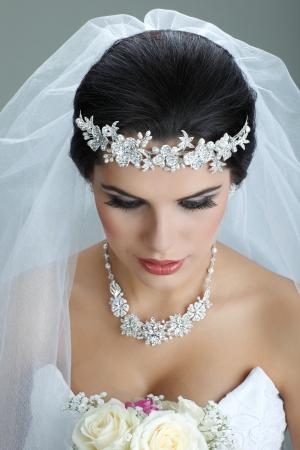Portrait of beautiful bride. Wedding dress. Wedding decoration Stock Photo - 15473170