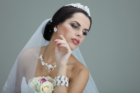 Portrait of beautiful bride. Wedding dress. Wedding decoration photo