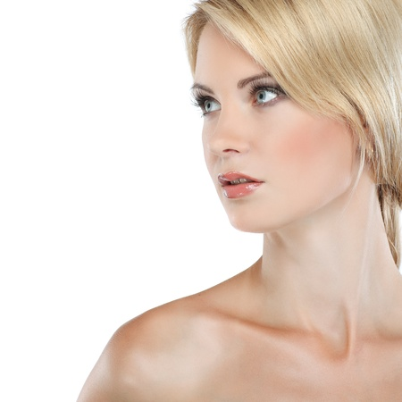 naked blonde: Closeup portrait of sexy whiteheaded young woman with beautiful blue eyes on white background Stock Photo