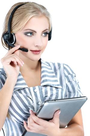 you can: ¿Te puedo ayudar? Primer plano de un representante de servicio al cliente femenino