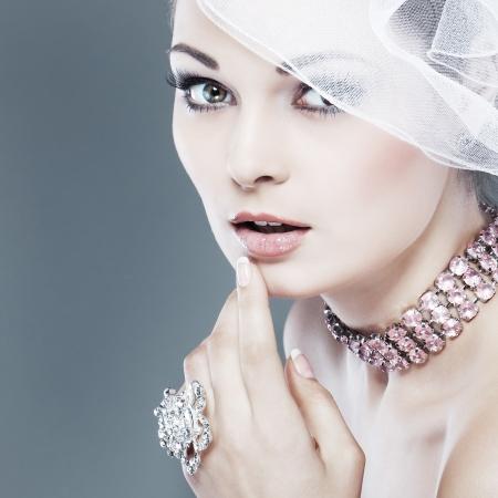 wedding accessories: Portrait of beautiful bride  Wedding dress  Wedding decoration Stock Photo