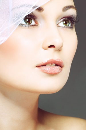 wedding veil: Portrait of beautiful bride.  Stock Photo