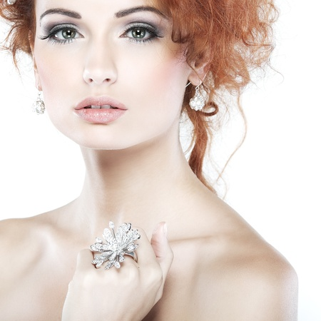 Red hair. Fashion girl portrait.Accessorys.Isolated on a white background photo