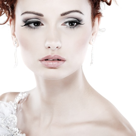 Red hair. Fashion girl portrait.Accessorys.