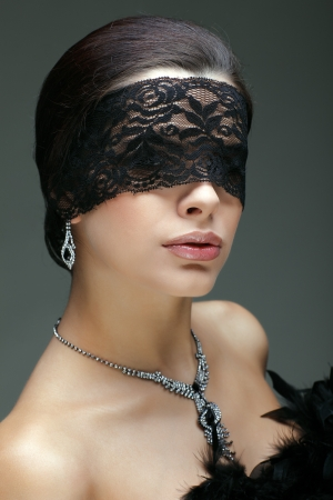 portrait elegant sexual  brunette woman is in a black lace mask Stock Photo - 16862094
