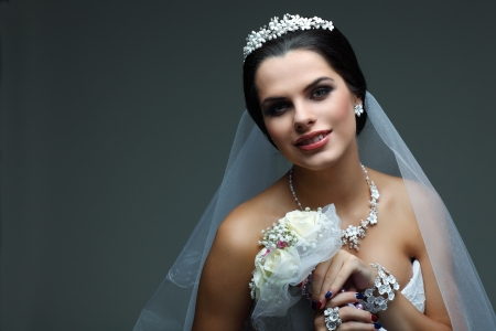 Portrait of beautiful bride  Wedding dress  Wedding decoration photo