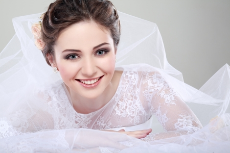 Portrait of beautiful bride. Wedding dress. Wedding decoration Stok Fotoğraf - 24237750