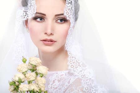 Portrait of beautiful bride. Wedding dress. Wedding decoration photo