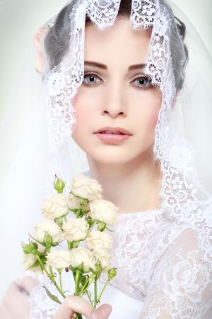 Portrait of beautiful bride. Wedding dress. Wedding decoration Stock Photo - 24251863
