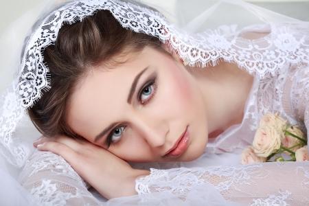 Portrait of beautiful bride. Wedding dress. Wedding decoration Stock Photo - 24251869