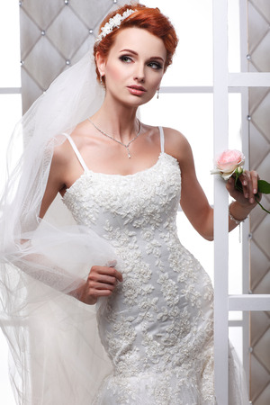 A photo of sexual beautiful bride in a wedding-dress is in fashion style. Wedding decorations photo
