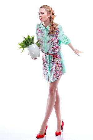 varicoloured: Beautiful sexual blonde in varicoloured clothes with the basket of flowers isolated on a white background