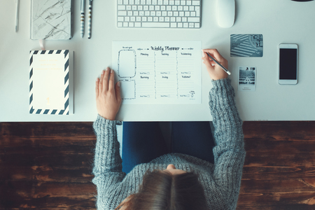 Exceptionnel Stock Photo   Young Woman Freelancer Indoors Home Office Concept Casual  Style Workplace Top View