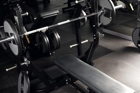 Bench press at gym no people close-up
