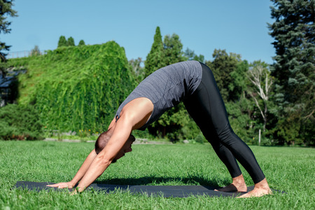 Healthy Lifestyle. Man practicing yoga on mat outdoors in downward facing dog pose