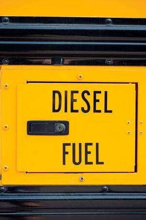 School bus diesel fuel sign vertical close-up