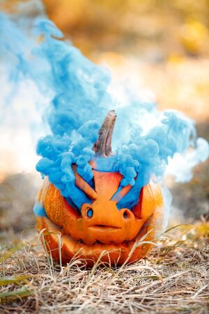 Carved pumpkin jack-o-lantern with colored gas isolated on ground halloween preparation concept close-up Imagens