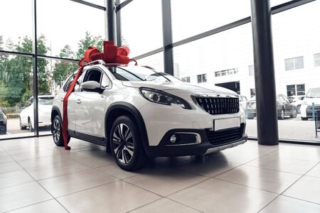 Concept of buying brand new car. Low angle view of white modern automobile with red bow and ribbon standing inside luxury auto salon like a present