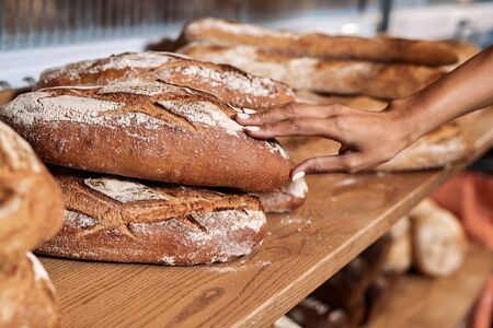 Cropped view of young adult female working in commercial bakery, standing near fresh bread and checking quality of product