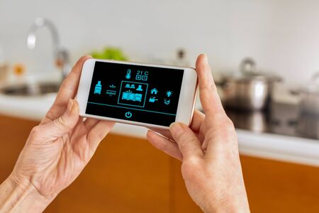 Cropped view of senior woman holding her modern smartphone in hands, standing in kitchen, using smart house app with climate controller mode Stock Photo