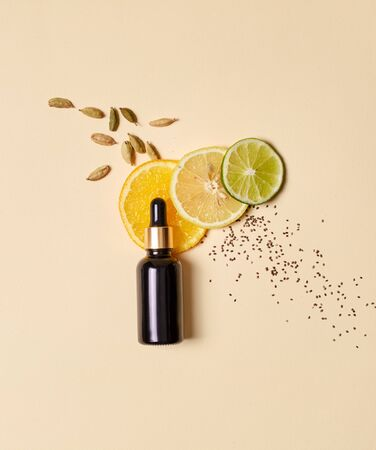 Flat lay organic serum, oil, tincture composition, natural ingredients. Healthy essence used in cosmetology for regeneration facial skin cells. Organic peeling, personal hygiene, body care Shop online Stock fotó