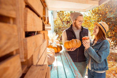 Halloween Preparaton Concept. Young couple decorating house with pumpkins talking with each other joyful Фото со стока