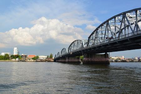 chao phraya river: A steel bridge crosses the Chao Phraya River