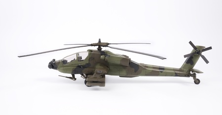 Apache helecopter model on white backgriund