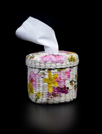 decoupage: Handicraft tissue box with decoupage paper napkins
