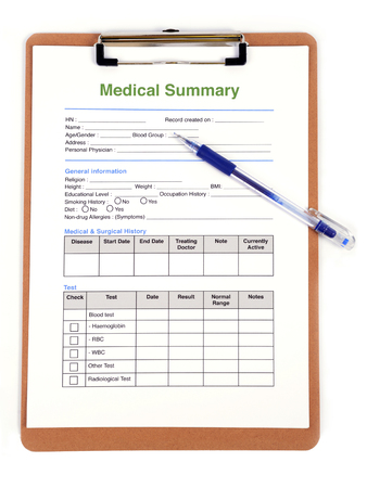 personal health record form on clipboard in doctors hand stock