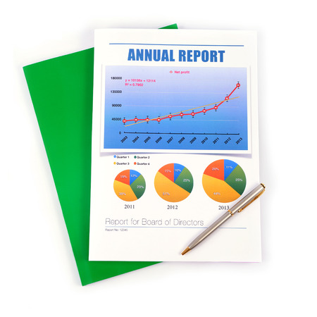 Book of annual report for board of director on white background.