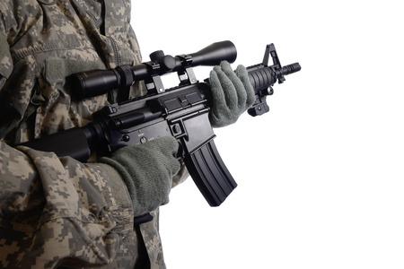 bb gun: Soldier with M4 rifle on white background