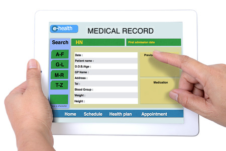 Medical record for e-health information on tablet. photo