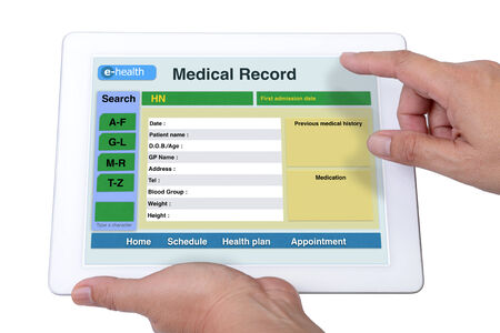 medical records: Someone is checking patient infomation and medical record.