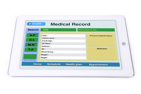 Medical record display on tablet for e-health technology. Banco de Imagens