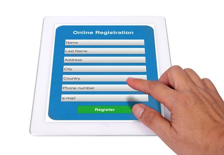 それは、オンライン登録フォームに情報を入力する簡単です。 写真素材