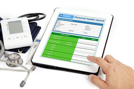 Patient personal health information shown on tablet.