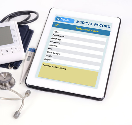 Electronic medical record show on tablet scree.