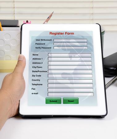 online form: Register form on tablet for online register.