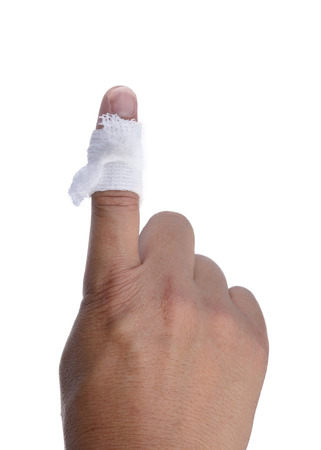 basic care: Finger with a bandage wrapped around the injury on a white background.