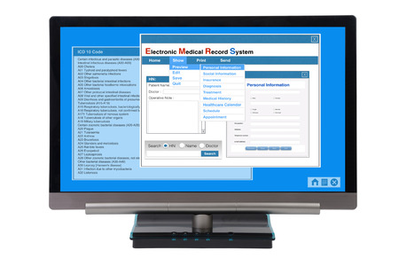 Electronic medical record show on computer monitor on white background. Standard-Bild