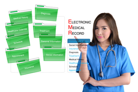 electronics: Electronic medical record system and female doctor in blue uniform on white background.