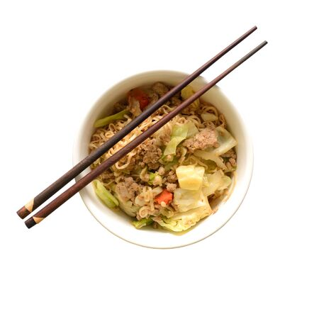 instant noodle: Top view of Chinese instant noodle in bowl easy cooking and ready to eat in a few minute on white background.