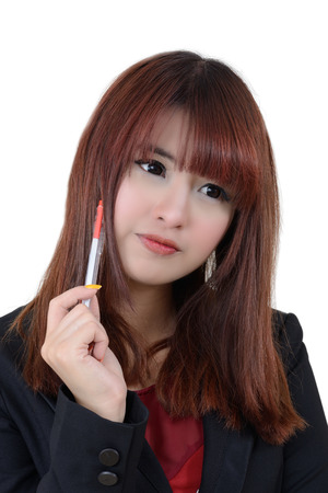 next year: Business woman thinking about business plan for next year on white background. Stock Photo
